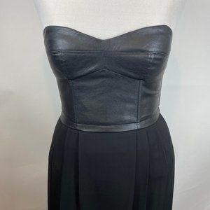 BCBG leather high low dress